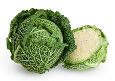 Savoy cabbage isolated on white. Background with clipping path Royalty Free Stock Images