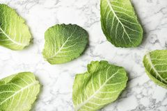 Savoy cabbage leaves on marble background. Top view royalty free stock images