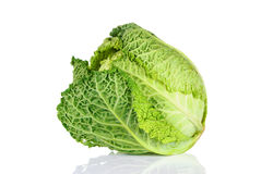 Savoy Cabbage. Over white background Stock Photo