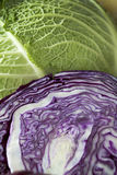 Savoy cabbage red halved cabbage close up Stock Photo
