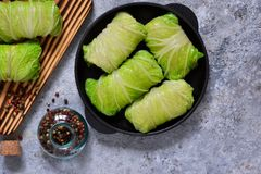 Savoy cabbage rolls with meat and rice. Vegan cabbage rolls. Savoy cabbage rolls with meat and rice. Vegan cabbage rolls stock photo