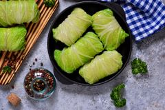 Savoy cabbage rolls with meat and rice. Vegan cabbage rolls. Savoy cabbage rolls with meat and rice. Vegan cabbage rolls royalty free stock photo