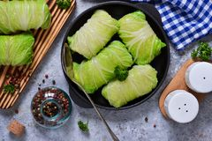 Savoy cabbage rolls with meat and rice. Vegan cabbage rolls. Savoy cabbage rolls with meat and rice. Vegan cabbage rolls stock images