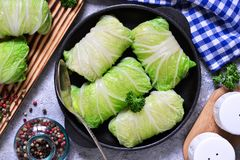 Savoy cabbage rolls with meat and rice. Vegan cabbage rolls. Savoy cabbage rolls with meat and rice. Vegan cabbage rolls royalty free stock images