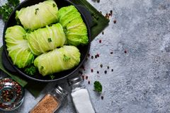 Savoy cabbage rolls with meat and rice. Vegan cabbage rolls.  stock photo