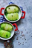 Savoy cabbage rolls with meat and rice. Vegan cabbage rolls.  royalty free stock photos