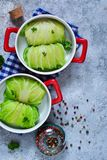 Savoy cabbage rolls with meat and rice. Vegan cabbage rolls.  stock images
