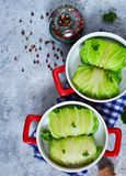 Savoy cabbage rolls with meat and rice. Vegan cabbage rolls.  stock image