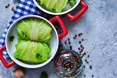 Savoy cabbage rolls with meat and rice. Vegan cabbage rolls.  royalty free stock photography