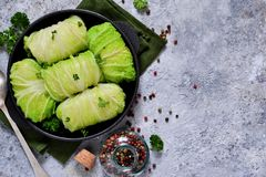 Savoy cabbage rolls with meat and rice. Vegan cabbage rolls.  stock photography