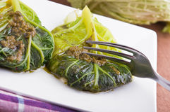 Savoy cabbage roulades. Royalty Free Stock Photos