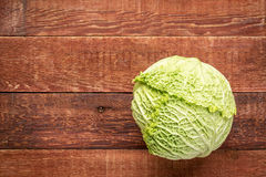 Savoy cabbage on rustic wood Stock Images