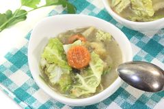 Savoy cabbage stew with leeks Stock Images