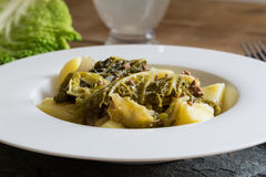Savoy cabbage stew with potatoes and ground beef Royalty Free Stock Images