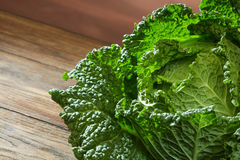 Savoy cabbage super food close up. Top view Royalty Free Stock Photo