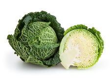 Savoy cabbages isolated on white background Royalty Free Stock Images
