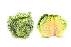 Savoy cabbages. Over white background Stock Images