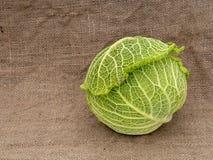 Savoy type cabbage on hessian aka burlap, sacking Green vegetable. Savoy type cabbage on hessian. Green vegetable stock images