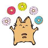 Savoyar η γάτα που κάνει ταχυδακτυλουργίες Donuts E Χαριτωμένο εύθυμο κόκκινο διασκέδασης ή γατάκι πιπεροριζών με τα χέρια που κρ απεικόνιση αποθεμάτων