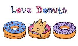 Savoyar Cat Lying op een Doughnut Liefde Donuts Leuk Vrolijk Pretrood of Ginger Kitty met Handen Gehouden Hoog Aanbiddelijk Katje stock illustratie