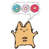 Savoyar Cat Thinking Dreaming About Donuts E El rojo alegre lindo o Ginger Kitty de la diversión con las manos llevó a cabo alto  stock de ilustración