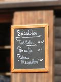 Savoyard specialties on the menu Royalty Free Stock Photo
