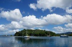 Savusavu港口,瓦努阿岛海岛,斐济 免版税库存照片