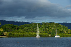 Savusavu harbor, Vanua Levu island, Fiji Royalty Free Stock Photos