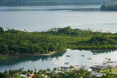 Savusavu marina and Nawi islet, Vanua Levu island, Fiji. South Pacific stock images