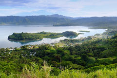 Savusavu marina and Nawi islet, Vanua Levu island, Fiji. South Pacific royalty free stock photo
