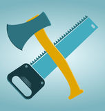 Saw and ax. Carpentry tools royalty free illustration