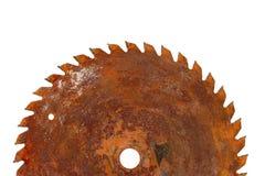 Saw blade. Top half of rusty circular saw blade Stock Photo