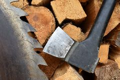 Saw blade for circular saw and ax. Stock Photo