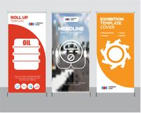 Saw blade, energy check, oil roll up. Saw blade modern business roll up banner design template, energy check creative poster stand or brochure concept, oil cover Stock Photography