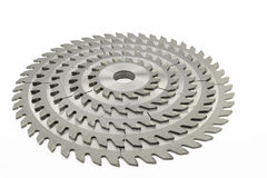 Saw blades. Stack of saw blades isolated on white background royalty free stock photography