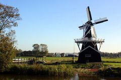 Saw and corn mill. `Bovenrijge` from 1903 in Ten Boer. The Netherlands Royalty Free Stock Photo
