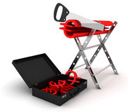 Saw cut euro a symbol. 3D. Saw cut euro a red symbol in black suitcase. 3D render Royalty Free Stock Photos