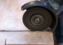 Saw Cutting Ceramic Tile Stock Photography