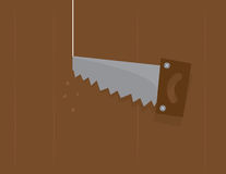 Saw Cutting Through Wood Royalty Free Stock Photography