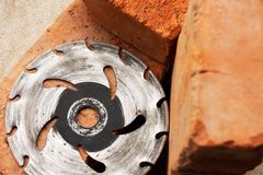 Saw-disc for cutting bricks Royalty Free Stock Photos
