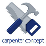 Saw and Hammer Carpenter Concept. Hammer and hand saw tools crossed concept Stock Images