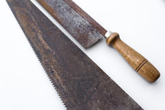 Saw / handsaws detail - vintage tools Royalty Free Stock Images