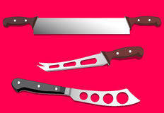 Saw and knives for cheese, vector illustration Royalty Free Stock Photo