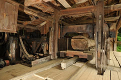 Saw mill. Ancient saw mill for wood processing royalty free stock image