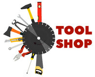 Saw, pliers, axes and other tools for construction and repair Royalty Free Stock Images