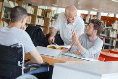 Saw professor in library. Saw the professor in the library stock image