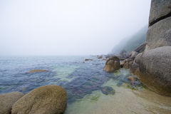 Saw the sea. Morning fog on the sea, Bay of Окуневая the sea of Japan, August Stock Image
