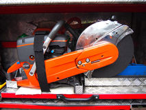 Saw. Stored in a fireman's car Stock Photo
