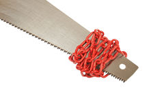 Saw. Tied with chain isolated on white background Royalty Free Stock Images
