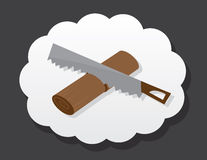 Saw Wood Snore. Saw cutting wood in sleep cloud Royalty Free Stock Photos